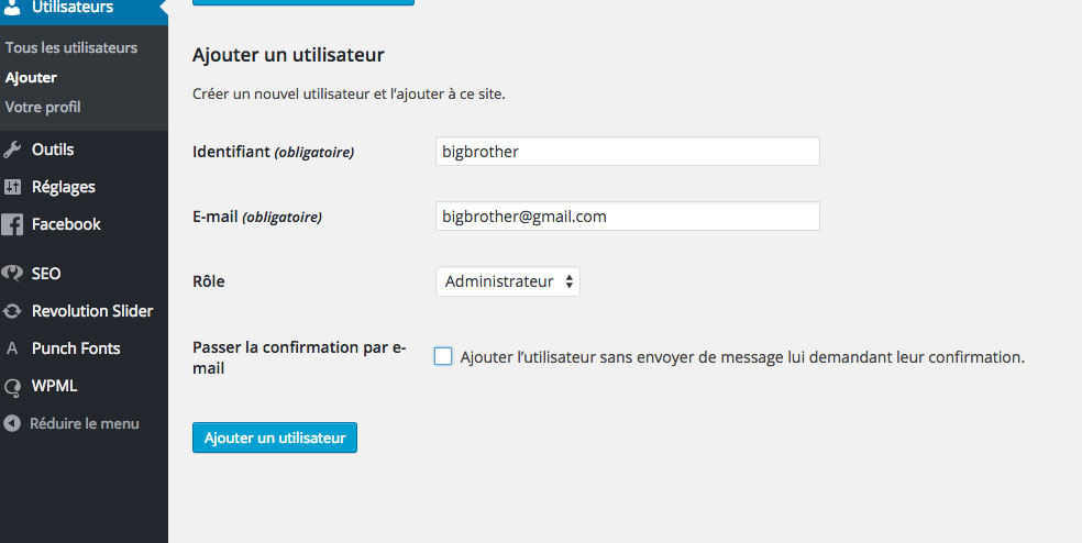 cr u00e9er un compte administrateur wordpress