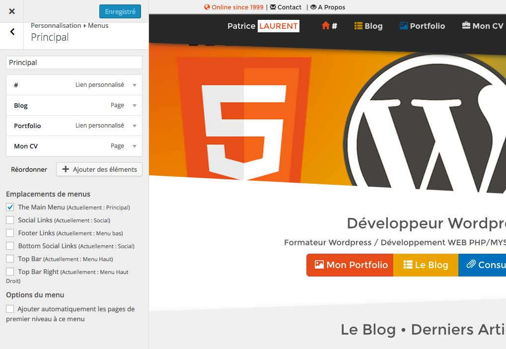 Wordpress 4.3 Personnalisation des menus